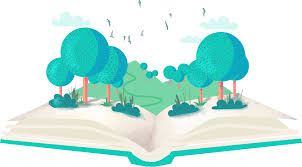 graphic image of open book with trees growing out of it