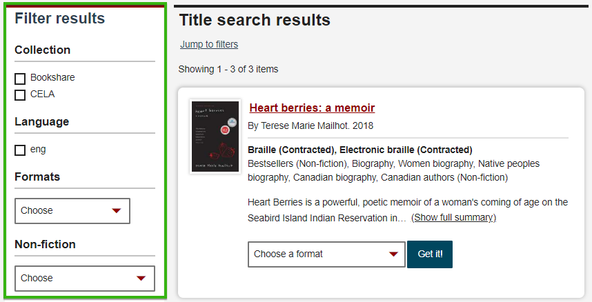 CELA Title search results screen with the Filter Results section highlighted in green to the left
