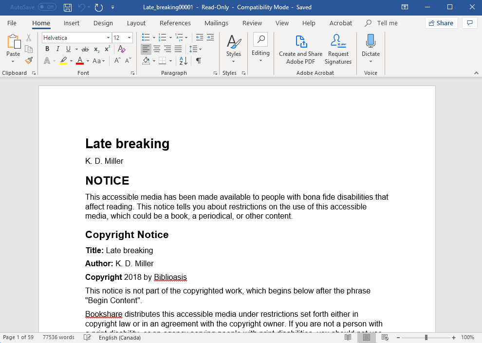 A Microsoft Word file showing the text of the book Late Breaking by K.D. Miller