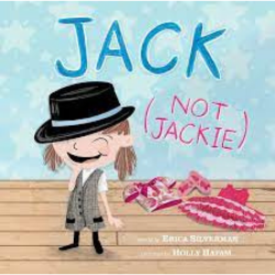 ​​​​Cover image of Jack (not Jackie) shows a young person in a black fedora hat and grey vest. Pink clothes lay on the ground around them. The title Jack (not Jackie) is written in carton block letters on the blue wall behind them.