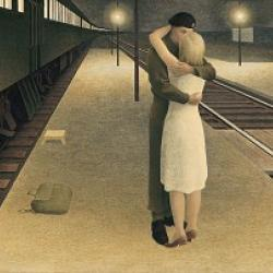 painting of a woman with a white dress, embracing a soldier in uniform, while standing on the platform beside a train