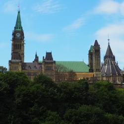 Image of the Canadian Parliament buildings in Ottawa as seen from the side