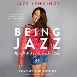 Book cover of Being Jazz shows a young woman with long brown hair in a pink top and jean shorts. The title Being Jazz is superimposed in white across her body.