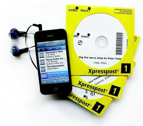 An iphone and earbuds next to a stack of DAISY CDs in bright yellow CELA packaging