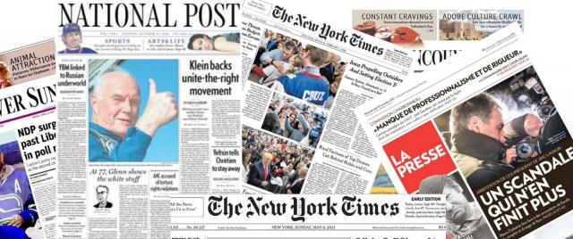 Newspapers in a row, including the National Post, the New York Times, and La Presse