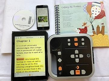 EasyReader, DAISY reader, DAISY CD, and printbraille