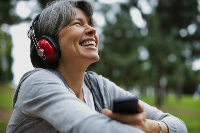 Woman listening to an audiobook