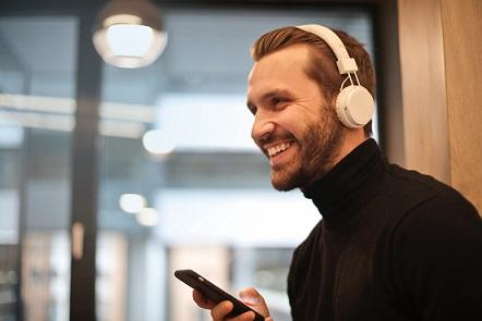 Man listening to an audiobook