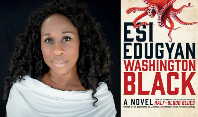 Book cover of Washington Black and photo of author