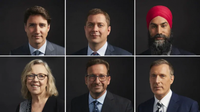 Photographs of the leaders of the Canadian political parties