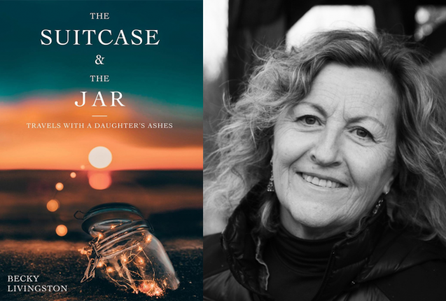 Book cover of The suitcase & the jar with photo of author
