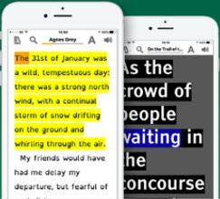 An iphone displaying a book in EasyReader with the text highlighted