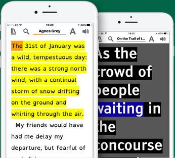 The text of the book Agnes Grey highlighted in the EasyReader application on a mobile device