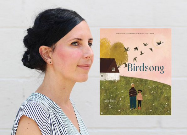 Book cover of Birdsong and photo of author
