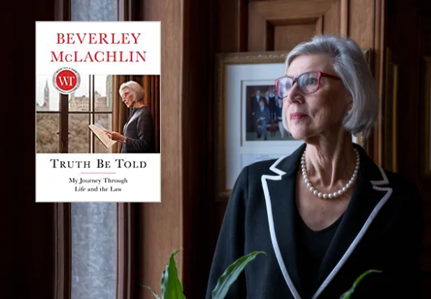 Photo of Beverley McLachlin and cover of book.