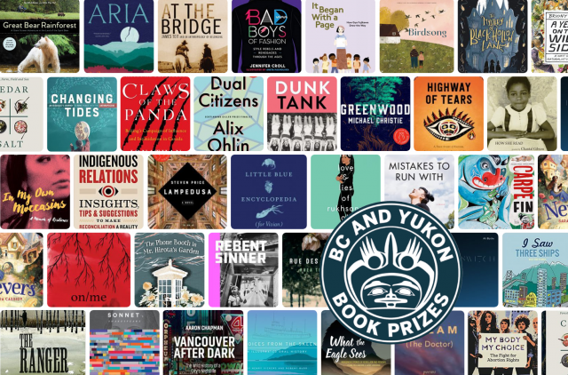 BC Yukon Book Prize logo with book covers of nominees.