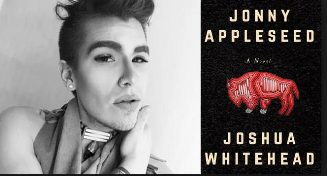 Photograph of author Joshua Whitehead and cover of their book Jonny Appleseed