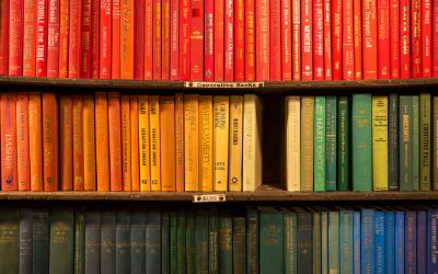 Image of 3 shelves of books, with one book missing from the centre of the middle shelf.